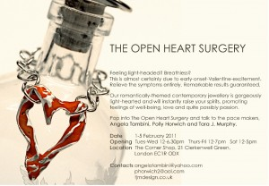 Open Heart Surgery pop-up exhibition flyer featuring heart necklace by Angela Tambini